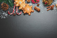 Christmas Cookies With Candy, Cone And Fir Festive Decoration With Snow