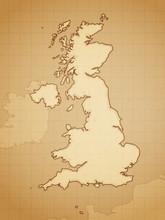 United Kingdom Map Drawn On Aged Paper Vector Illustration.