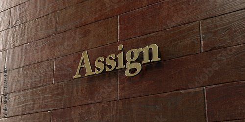 Assign - Bronze plaque mounted on maple wood wall  - 3D rendered royalty free stock picture Wallpaper Mural
