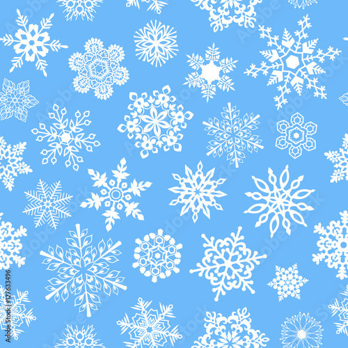 Cotton fabric Snowflakes seamless pattern for Christmas packaging, textiles, wallpaper vector illustration.
