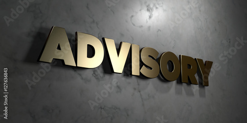 Photo Advisory - Gold sign mounted on glossy marble wall  - 3D rendered royalty free stock illustration