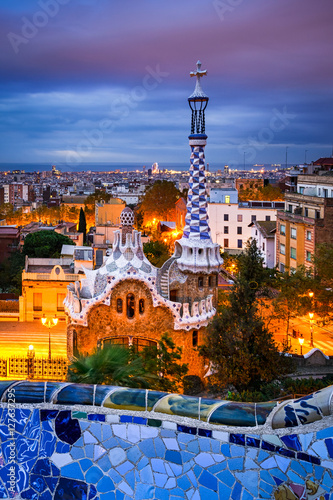 Foto op Canvas Barcelona Park Guell in Barcelona, Spain at night