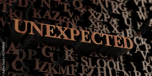 Fényképezés  Unexpected - Wooden 3D rendered letters/message