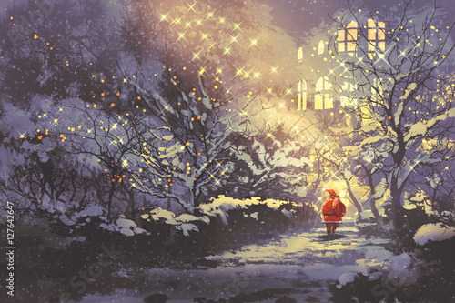 Foto op Aluminium Grandfailure Santa Claus in snowy winter alley in the park with christmas lights on trees,illustration painting