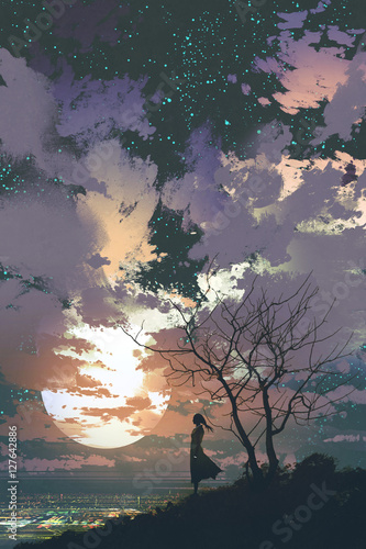 woman standing on top of a mountain against a beautiful sky with big moon,illustration painting