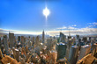 Colorful HDR image of the skyline of Midtown Manhattan under the sun during winter 2016, New York City