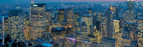 Photo  View of New York Manhattan during sunset hours