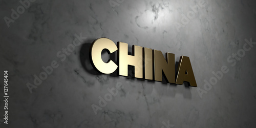 Fotografija  China - Gold sign mounted on glossy marble wall  - 3D rendered royalty free stock illustration