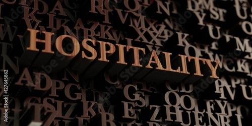 Fotografía  Hospitality - Wooden 3D rendered letters/message