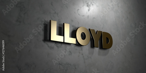Lloyd - Gold sign mounted on glossy marble wall  - 3D rendered royalty free stock illustration Wallpaper Mural