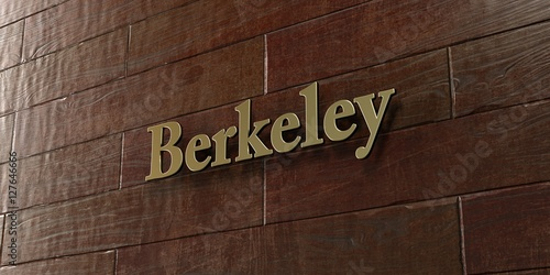 Berkeley - Bronze plaque mounted on maple wood wall  - 3D rendered royalty free stock picture Fototapeta