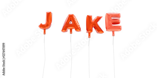 Leinwand Poster JAKE - word made from red foil balloons - 3D rendered