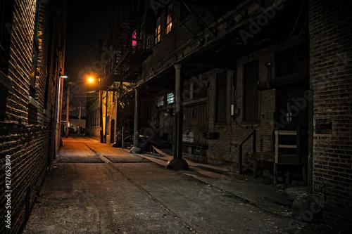 Canvas Prints Narrow alley Dark City Alley at Night
