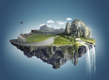 Magic Island With Floating Islands, Water Fall And Field