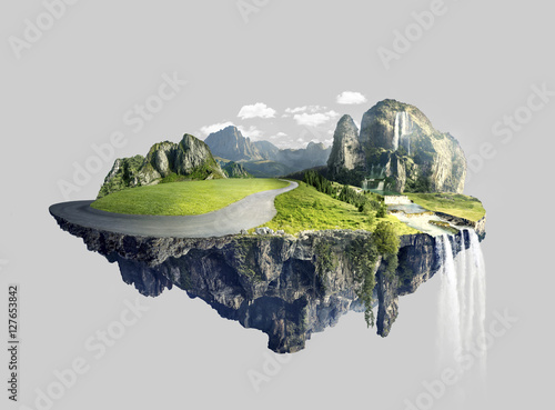 Photo sur Aluminium Ile Amazing island with grove floating in the air