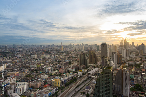 Foto op Aluminium Kuala Lumpur Bangkok sunrise, City scape view on metropolis of Thailand