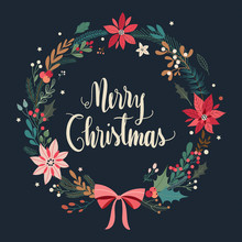 Christmas Greeting Card With Floral Wreath On A Black Background (vector Design)