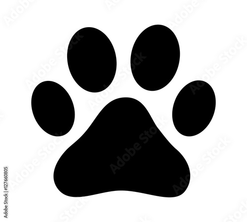 Fotomural  Dog or cat paw print flat icon for animal apps and websites