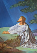 Original Of Oil Painting On Canvas Jesus Prays In The Garden,Christian  Easter Background