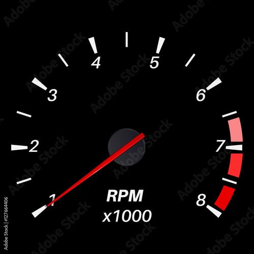 Photo  Tachometer. Black round scale