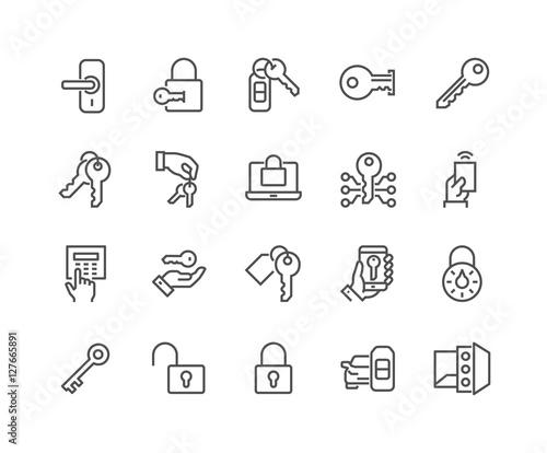 Fotografie, Obraz  Line Keys and Locks Icons