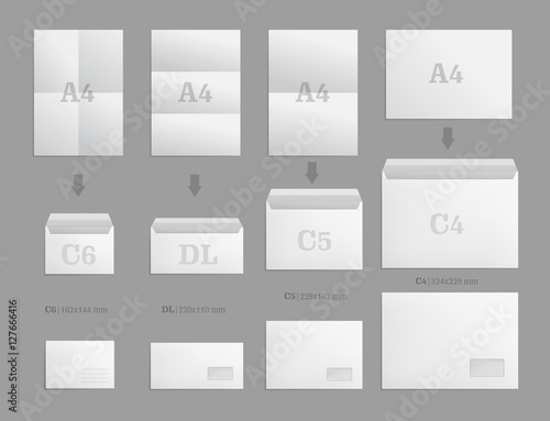 Set of white paper envelopes for business document or letter vector set of white paper envelopes for business document or letter vector blank mockups white spiritdancerdesigns Gallery