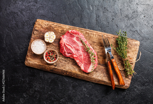 Fotografie, Obraz  Raw fresh ribeye steak