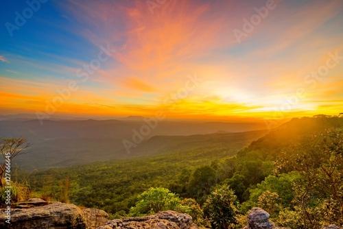 Printed kitchen splashbacks Coast sunset in the mountain