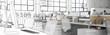 Büro-Entwurf (panoramisch)