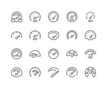 Line Speedometer Icons