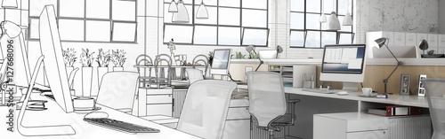 Obraz Büro-Entwurf (panoramisch) - fototapety do salonu