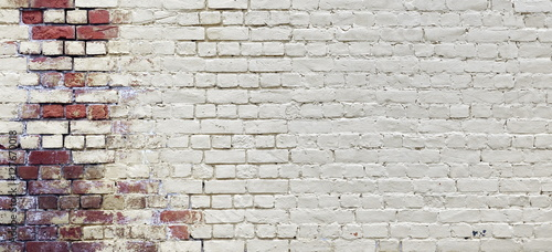 Foto auf Gartenposter Graffiti Vintage Wide Old Red White Brick Wall Texture Background