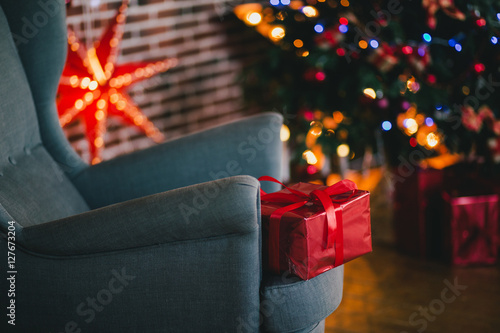 Aluminium Prints Theater Presents under the Christmas tree background. Holiday mood