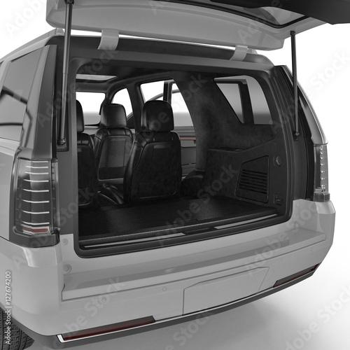Fotografia, Obraz SUV clean empty trunk isolated on a white. 3D illustration