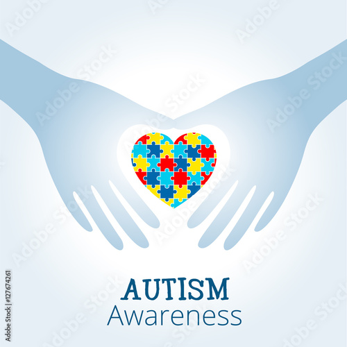 Autism Awareness Concept With Heart Of Puzzle Pieces As Symbol Of