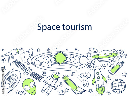 Fototapeta Space tourism banner vector illustration