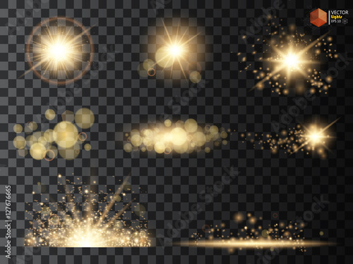 Fotografia Golden glitter bokeh lights and sparkles