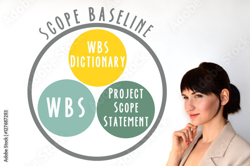 Photo  Scope baseline. WBS, WBS dictionary, project scope statement