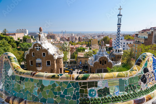 Tuinposter Barcelona The Park Guell in Barcelona - Spain.