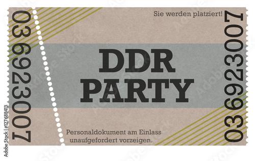 Photo  DDR Party - Ostalgie Eintrittskarte Ticket Design Stil - Old Style- East German