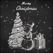 Christmas Or New Year Hand Dra...