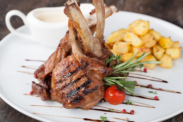 lamb chop meal with potato