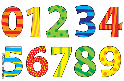 Nice colorful cartoon numbers set for children
