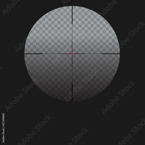 Fotografía  Isolated vector illustration with sniper sight, target for shooting icon on transparent background, cross-hair with red dot