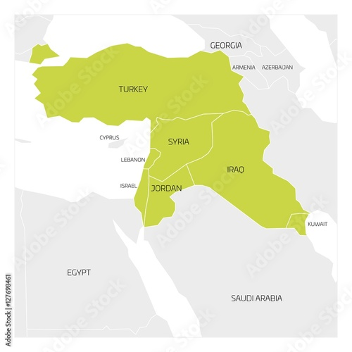 Map of Middle East or Near East transcontinental region with green ...