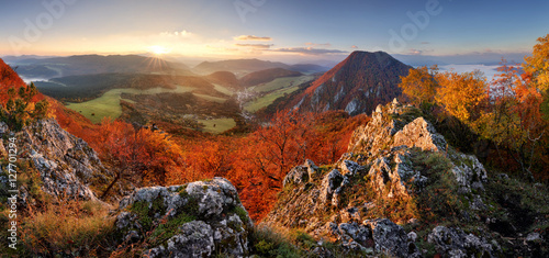 Fotobehang Grijze traf. Slovakia forest autumn panorana landscape with mountain at sunri