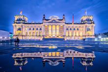 Night In Berlin, The Reichstag Building Or Deutscher Bundestag In Berlin, Germany