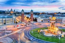 Dusk View Of Barcelona, Spain....