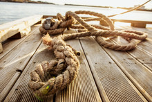 Wooden Pier Rope, Moored Fishi...