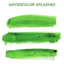 Watercolor Green Splashes Set Design Elements. Vector Illustration